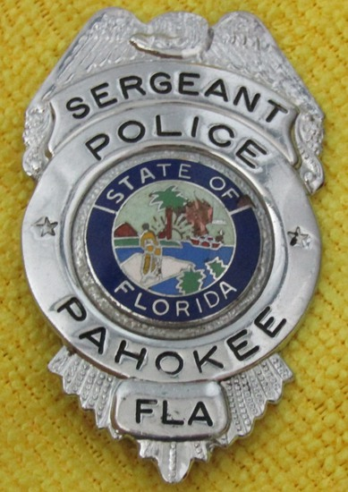 "Ca. 1950-60's ""PAHOKEE, FL. POLICE SERGEANT"" Badge"