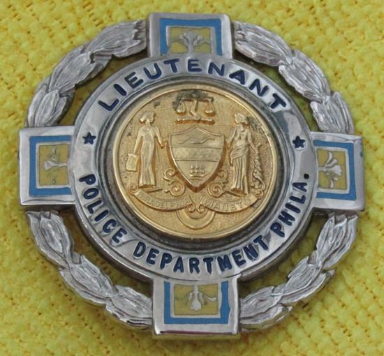 "Ca. 1950-60's ""PHILADELPHIA, PA. POLICE DEPARTMENT LIEUTENANT"" Badge-Numbered"