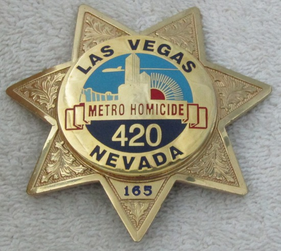 "Ca. 1960-70's ""LAS VEGAS, NEVADA METRO HOMICIDE"" Badge-Numbered"