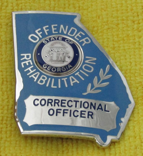 "Ca. 1970-80's ""STATE OF GEORGIA CORRECTIONAL OFFICER/OFFENDER REHABILITATION"" Badge"