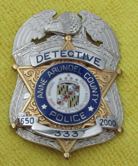 "Ca. 2000 ""ANNE ARUNDEL COUNTY, MARYLAND DETECTIVE"" Badge-Numbered"