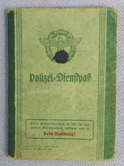 Scarce WW2 Nazi Police Work Booklet