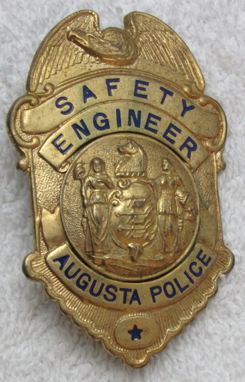 "Ca. 1930-40's ""AUGUSTA, N.J. AUGUSTA POLICE SAFETY ENGINEER"" Badge-Rare Small Township"