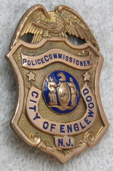 "Ca. 1940-50's ""ENGLEWOOD, N.J. POLICE COMMISSIONER"" Badge"