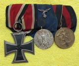 3 Place Parade Medal Bar-EK 2, Luftwaffe Service & Sudetenland Medals