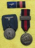 3pcs-Parade Mount Wehrmacht 4yr Service Medal-Czech Annex Medal W/Prague Bar-Ribbon Bar