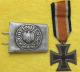 2pcs-Wehrmacht Pebbled Aluminum EM Buckle-Iron Cross 2nd Class W/Ribbon