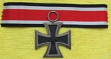 Exemplary  Iron Cross 2nd Class With Ribbon-3pc Construction-Magnetic Center-Scarce Maker