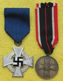 2pcs-25yr Faithful Service And 3rd Class War Merit Cross W/O Swords Medals