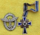 2pcs-1st Pattern Nazi Police Cap Insignia-Mother's Cross In Bronze
