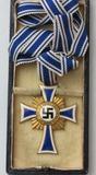 Cased Nazi Mother's Cross In Gold-Full Ribbon-