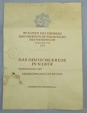 Rare German Cross In Silver Unissued Award Certificate