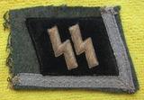 Waffen SS Collar Tab On Cut Off Uniform Collar-Rare Example!