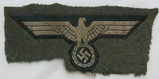 Wehrmacht Breast Eagle For Enlisted-Period Sewn To Cut Off Uniform Remnant