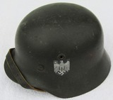 M40 Single Decal Heer Helmet With Liner/Chin Strap-Field Reissue Example