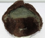 Wehrmacht Russian Front/Cold Weather Rabbit Fur Cap With Metal Insignia
