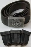2pcs-Combat Worn Wehrmacht Pebbled Aluminum EM Buckle With Belt/K98 Ammo Pouch