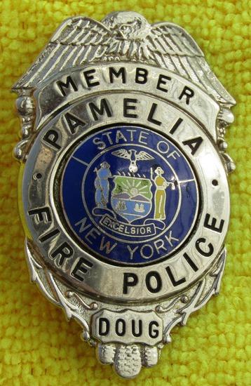 Ca. 1960-70' State Of New York Pamelia Fire Police Member's Badge-Named-Doug