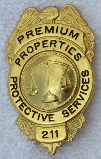 Vintage 1950-60's Premium Properties Protective Services Numbered Badge