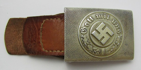 WW2 Nazi Police Belt Buckle With Leather Tab-Scarce Maker Of Dransfeld & Co.-1940 Dated
