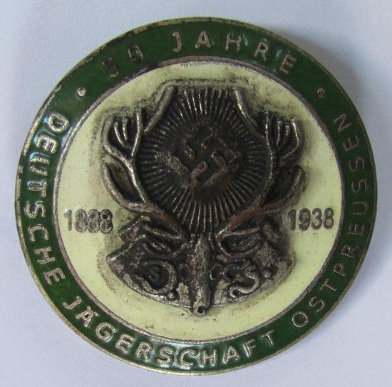 "50 Year German ""Jagerschaft"" Hunting Association Enamel Badge"
