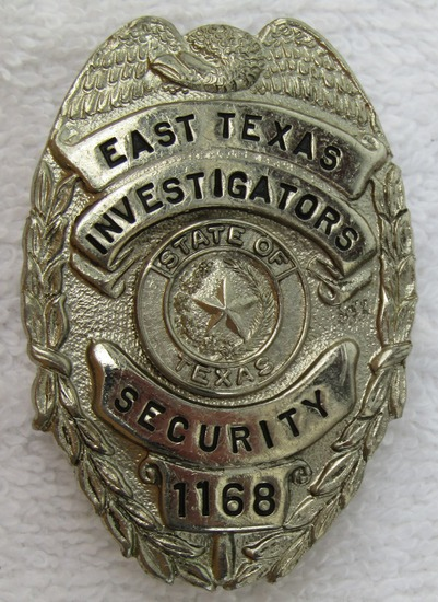 """Scarce 1950-60's East Texas Security Investigator's """"Silver"""" Cap Badge Numbered"""