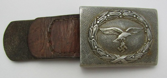 Luftwaffe Pebbled Aluminum Belt Buckle For EM With Leather Tab. 1938 Dated By F.K.O.