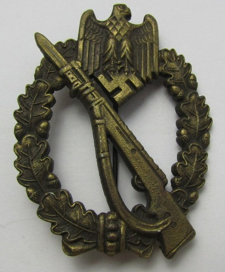 """Infantry Assault Badge In Bronze-Scarce Maker """"M.K.1."""""""