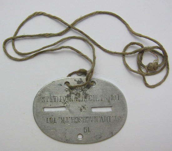 """Original Period WW2 German Supply Troops Soldier's """"Dog Tag"""" With Neck Cord"""