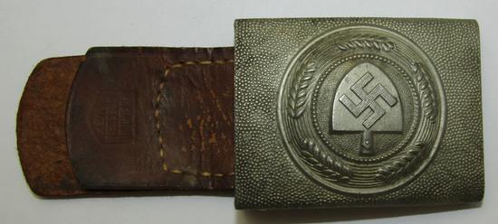 WW2 German RAD Belt Buckle With Leather Tab For EM-Hermann Aurich-1937 Dated