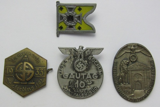 4pc-Misc Pre WWII German Rally Badges/Standarte Pin