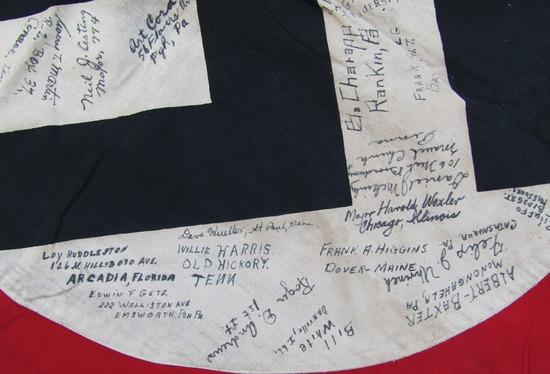 Rare WW2 U.S. 774th Tank Battalion Captured NSDAP Flag With Soldier Signatures