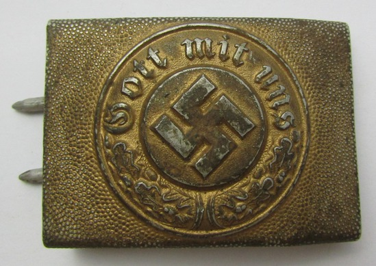 WW2 Nazi Wasserschutzpolizei Belt Buckle For NCO/Enlisted-1942 dated By FLL