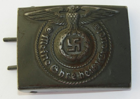 Original WW2 Period Waffen SS Belt Buckle For EM with Rare OD Paint Combat Finish By RODO