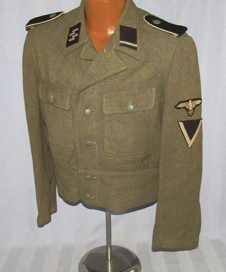Rare  M44 Waffen SS Short Waist German Combat Uniform Jacket Tunic W/EM Insignia For Sturmmann