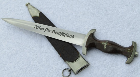 As Found In WW2 Vet Estate-Early SA Dagger With Leather Covered Scabbard Body