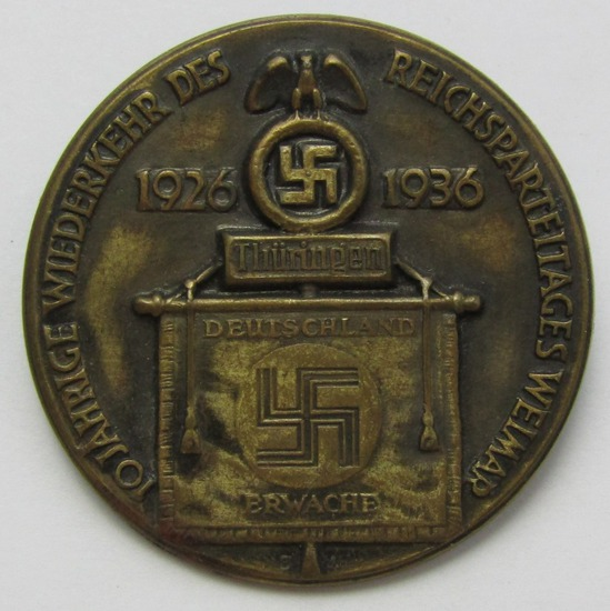"""Early Third Reich 10 Year """"Thuringen"""" Rally Badge-DEUTSCHLAND ERWACHE"""""""