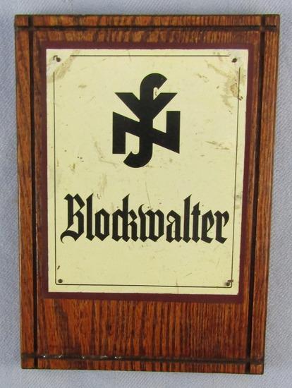 Scarce WW2 Period German NSV Social (Welfare) Block Administrator Plaque