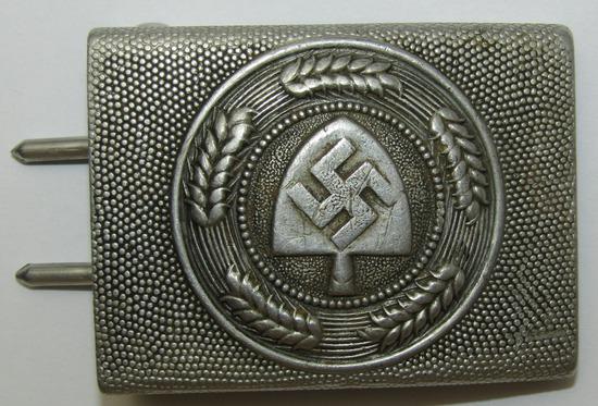 Scarce Maker RAD Pebbled Aluminum Belt Buckle For EM-K.u.Q. 1938 Dated