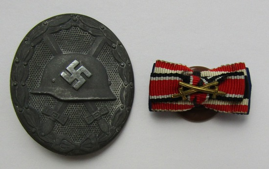 2pcs-WW2 German Wound Badge In Silver-Buttonhole Ribbon Device