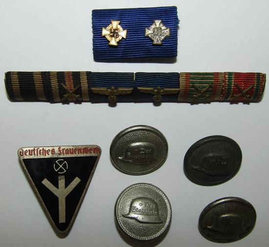 "7pcs- Misc. German Ribbon Bars-""Der Stahlhelm"" Uniform Buttons-Frauenwerk Member Badge"