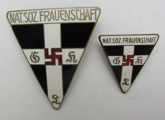 2pcs-WW2 Period Frauenschaft Membership Badges-Both Are Maker Marked