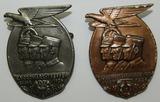 2pcs-NSDAP/NSKK/SA Rally Badges-1936 & 1939 dated-Both Are Maker Marked