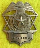 Rare Ca. 1940's Detroit Steel Security Officer's Cap Badge