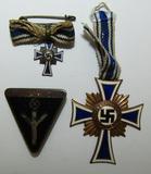 3pcs-Frauenwerk Member Pin-Bronze Mothers Cross-Miniature Silver Mothers Cross