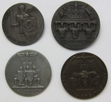 4pcs-Early 3rd Reich NSDAP Rally Badges-1934-1935-1936-1937