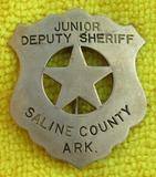 Ca. 1940's Saline County Arkansas, Junior Deputy Sheriff Badge