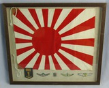 WWII Japanese Navy  Rising Sun Flag-Pilot Wings Etc.-Framed By U.S. Pacific Theater Vet