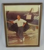 Framed Photo With Handwritten Inscription/Signature-WW2 USMC Ace Pilot