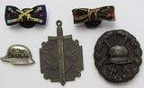 5pcs-Two Buttonhole Ribbon Devices-Der Stahlhelm Pin-Black Wound Badge-Veterans Fob